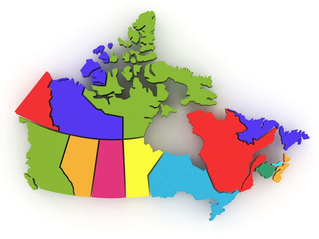 Canada - color map by provinces